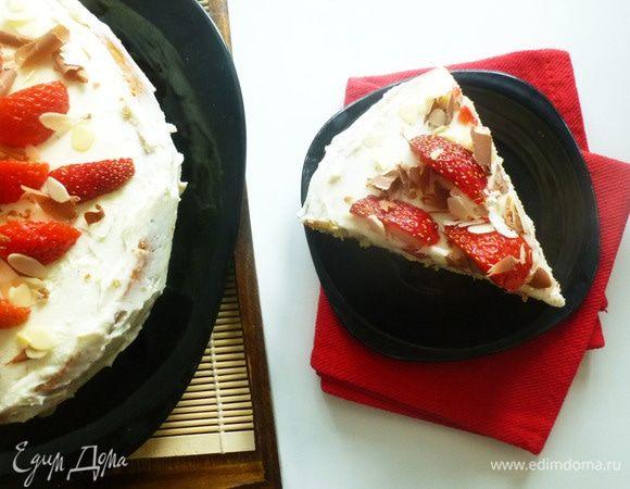 Пирог с клубникой и белым шоколадом