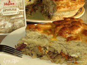 Пирог с квашеной капустой и картофелем