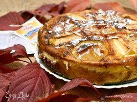 Пирог с воздушным творогом и яблоками