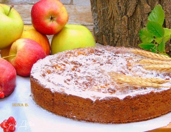 Творожный пирог с яблоками и кокосовой карамелью
