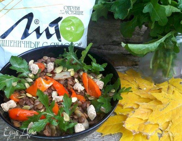 Чечевичный салат с отрубями