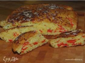 Домашний хлеб на кефире с запеченным перцем и медом