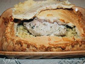 Пирог с томленым мясом и горохом