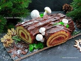Рождественское полено с пряной вишней и розмарином