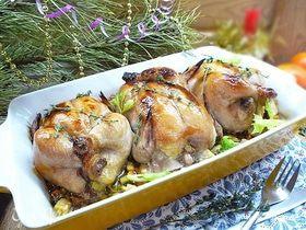 Цыплята-корнишоны с овощами и специями