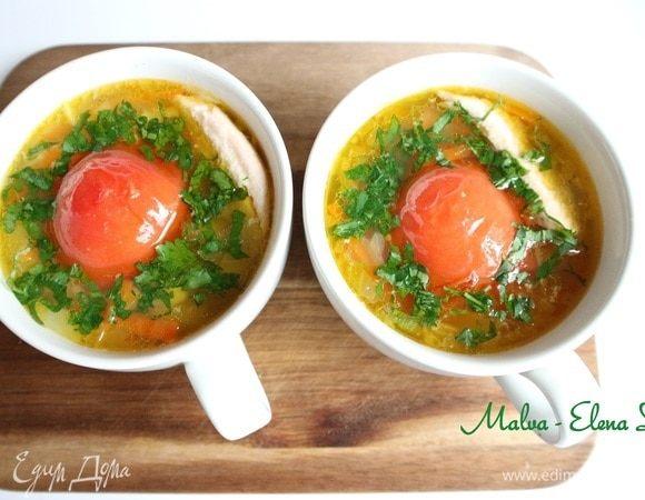 Суп с форелью и помидорами-гриль
