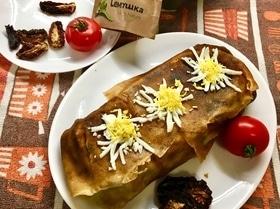 Блинный террин с фаршем и сушеными томатами