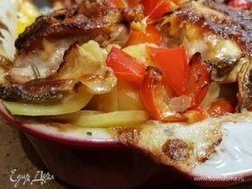Картофельный гратен с курицей и белыми грибами