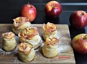 Яблочный штрудель в виде роз