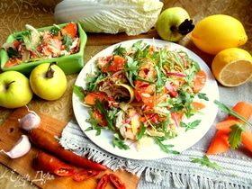 Острый морковный салат с кускусом и руколой
