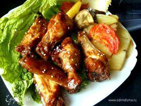 Куриные крылышки, маринованные в сидре с медом