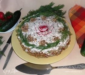 Кабачковый торт с творогом и орехами