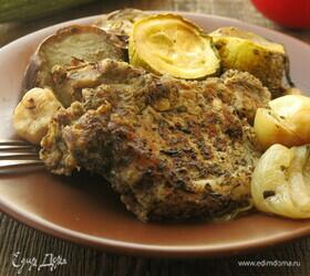 Свинина на кости с овощами