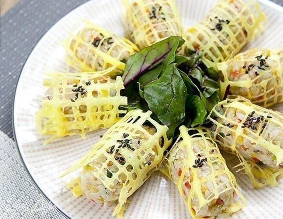 Яичные сетки с рисом, креветками и овощами