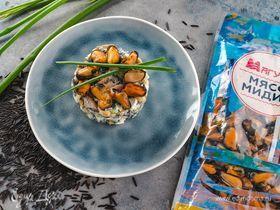 Салат с диким рисом и мидиями