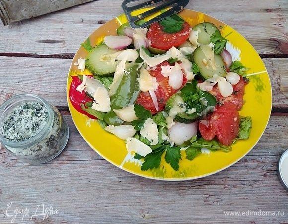 Теплый овощной салат с базиликовой солью