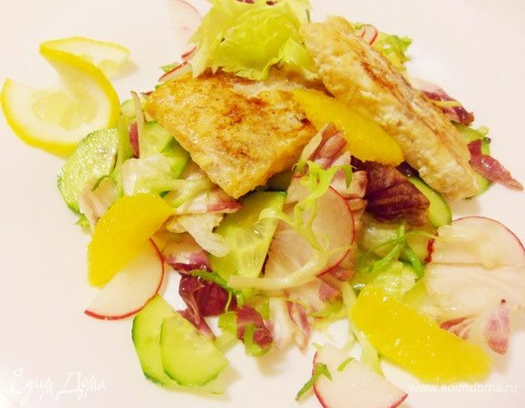 Рыба в лимонном соке с зеленым салатом