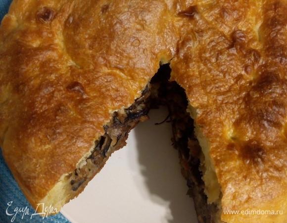 Пирог с мясом и грибами в мультиварке