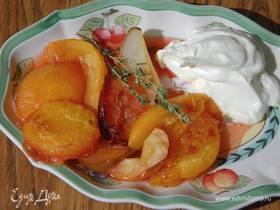 Запеченные фрукты с пьяным кремом