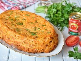 Итальянская фриттата с фаршем и спагетти