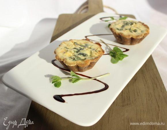 Тарталетки с зеленым горошком, рикоттой и мятой