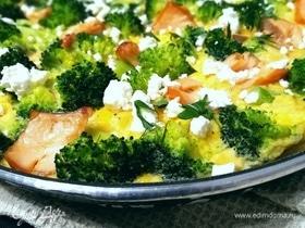 Фриттата с лососем и брокколи