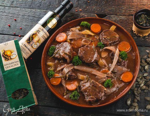 Томленая телятина с соусом гремолата на основе тыквенного масла