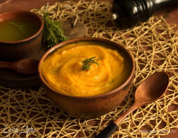 Морковный суп с зеленым маслом