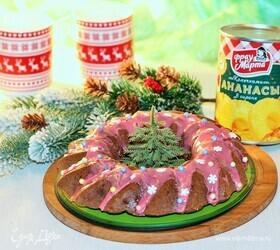 Кекс с ананасом и глазурью