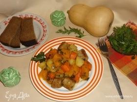 Овощное рагу с колбасками