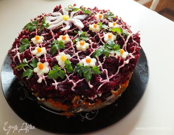 Праздничный салат «Ромашковая полянка»