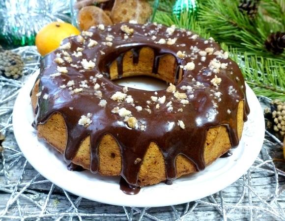 Тыквенный кекс с маком под шоколадной глазурью