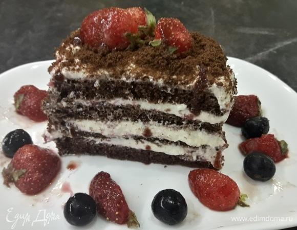 Творожный торт с клубничной начинкой
