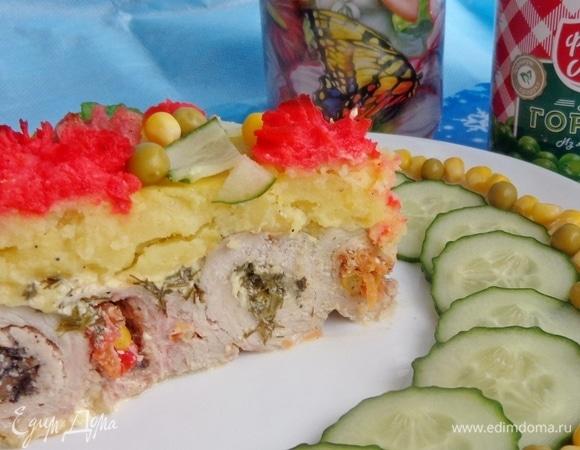 Мясной торт «Новогодний фейерверк»