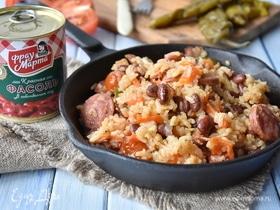 Рис по-португальски с фасолью и колбасками