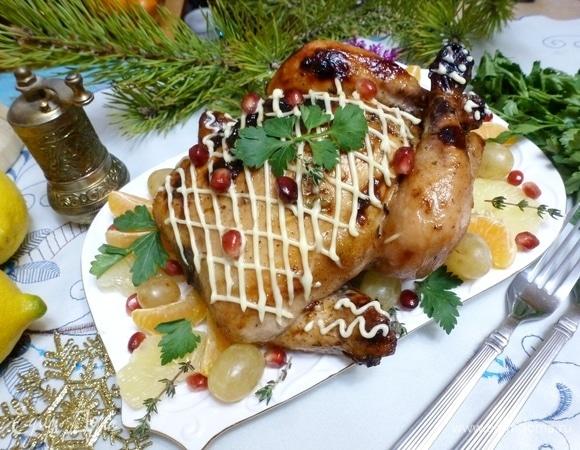 Имбирная курица, запеченная с виноградом
