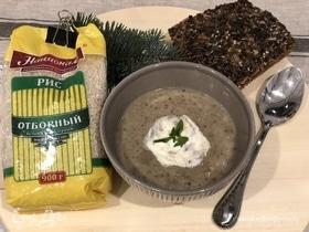 Грибной суп-пюре с рисом