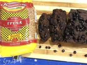 Шоколадно-банановый кекс с черникой без яиц и молока