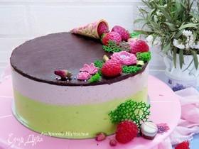 Торт «Птичье молоко» со вкусом малины, фисташек и розы