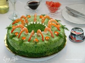 Блинный торт-суши с красной икрой