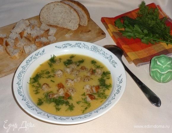 Овощной суп-пюре с чесночными сухариками