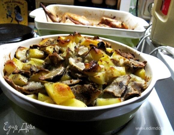 Куриные крылья с картофелем и топинамбуром