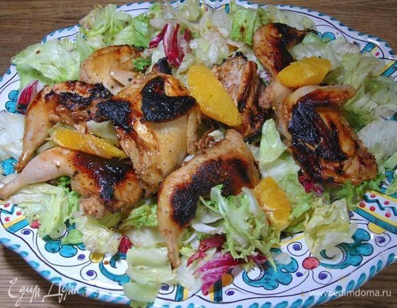 Салат с перепелками и апельсином