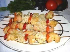 Куриный шашлык с овощами