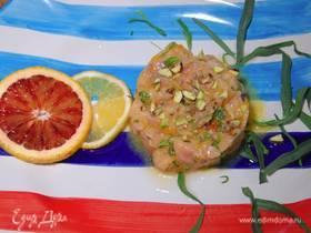 Семга в цитрусовом маринаде с зирой и фисташками