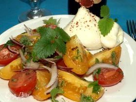 Салат из помидоров с сыром буррата и мелиссой