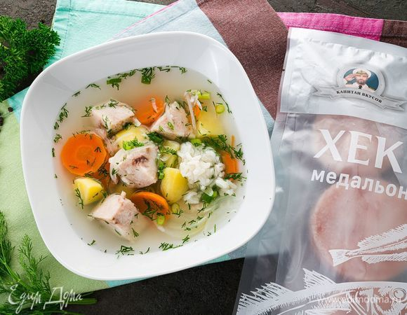 Легкий суп с хеком