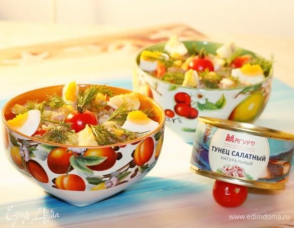 Рыбный салат с манго и овощами