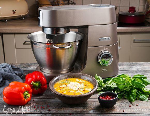 Овощной крем-суп с запеченным перцем и сыром