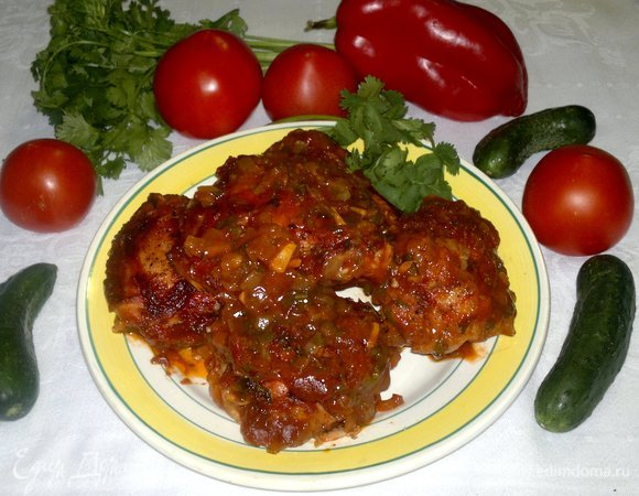 Куриные бедра в томатной заливке